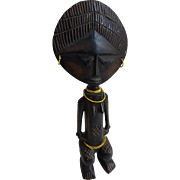 Mid 20th century vintage African female figure fertility statue from Ghana Ashanti tribe