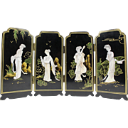 Dollhouse miniature Japanese vintage four-dimensional wooden lacquer folding panel with mother of pearl inlay depicting four Geisha's