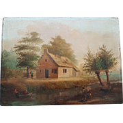 Beautiful antique Dutch painting by unknown master, oil on panel, early 19th century.