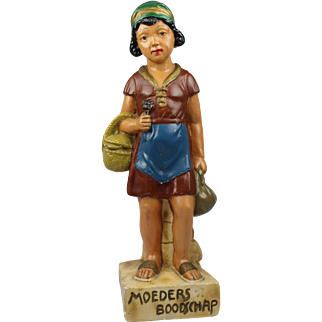 Adorable Dutch figure of a girl doing groceries for her mother, Polychrome plaster statue 1920's Art Deco romantic figurine