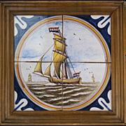 19th century Dutch antique Delft polychrome four tile tableau / Framed mural panel depicting a maritime scene