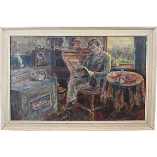 Wim Bouwsema (1936-), Groninger Ploeg member, self portrait, expressionist Dutch painting, oil on panel, signed and dated 1964