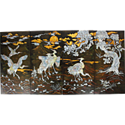 Four large vintage Chinese lacquer wall bird painting panels with mother of pearl inlay Asian Oriental
