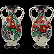 Set of two Bohemian Ditmar Urbach polychrome Art Deco porcelain hand painted double handle vases, Czechoslovakian Teplitz art pottery ceramics