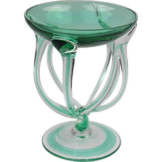 Krosno Poland Jozefina art glass goblet, Hand blown Murano style Polish octopus jellyfish green swirl vase
