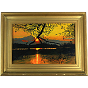 Gien van der Velde (a.k.a. Gien Brouwer) Dutch painting oil on board 'Sunset', signed and dated