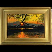 Gien van der Velde (a.k.a. Gien Brouwer) Dutch painting oil on board 'Sunset', signed and dated