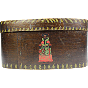 Norwegian hand painted Folk Art bentwood box, Late 19th century antique storage box, Oval bride's wig box with lift off lid