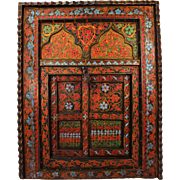 Antique Indian Folk Art wooden window of Hindu altar, Hand painted & handmade shutter from India approx. 1890