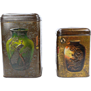Set of two antique Chinese tin tea cans, Late 19th century jars from China, Oriental enamel storage boxes with lithograph display Chinoiserie decor