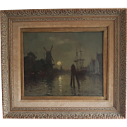 Magnificent antique impressionist Dutch art painting by Johan Barthold Jongkind (1819-1891) oil on panel, moonlit ships in harbor