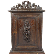 Unique antique 19th century Black Forest hanging medicine cabinet, Ornate foliage hand carved basswood chest Schwarzwälder Folk Art wall key cabinet, Victorian hunting outdoor cabin design miniature chest