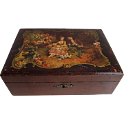 Beautiful French antique Vernis Martin lacquer wooden sewing, or jewelry box with hand painted romantic scene.