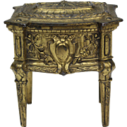 French antique Rococo revival gilded metal casket jewelry box gilt trinket box with tufted lining