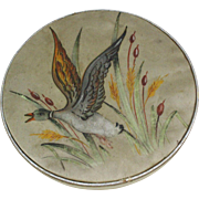 Antique French fin de siècle chocolate box, Rare hand painted container with silk top from France, ca. 1900