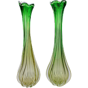 Set of two large mouth blown Italian design Murano art glass tulip vases,