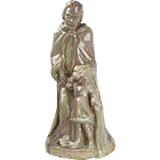 Religious Dutch Art Deco terracotta sculpture by Petri / Tegelen , Hand crafted marked & stamped ceramic figure of Saint Anthony from Petersen's pottery, Handmade in The Netherlands ca. 1935