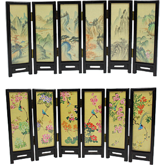Double sided dollhouse miniature Japanese vintage six-dimensional wooden lacquer folding panel with hand painted drawings on linen behind glass