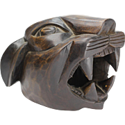 Handcrafted Art Deco panther head sculpture figurine, Dutch wooden hand carved figure, Vintage handmade statue from The Netherlands, ca. 1920