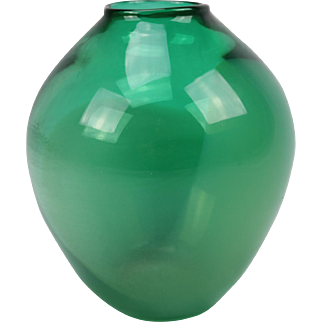 Handmade green Art Glass design vase, Mouth blown glass flower pot signed Effie Halkidis