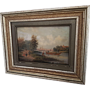 Beautiful antique 19th century romantic Dutch painting , oil on panel ,  Nicolaas Johannes Roosenboom (1805-1880)