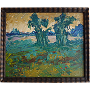 Vintage Dutch expressionist painting of a landscape oil on panel signed with unknown initials