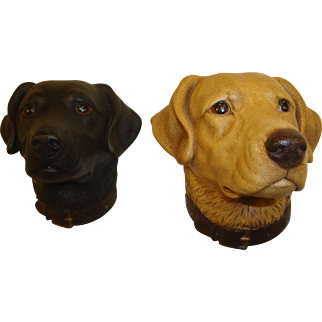 Matched Set of Bossons Labrador Retriever Dogs, Yellow and Black Labs, Circa 1960's