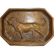 Antique Bronze Stafforshire Terrier Dog Gentleman's Calling Card Tray or Cigar Ashtray