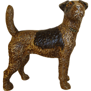Vintage Hubley Cast Iron Fox Terrier Dog Doorstop Circa 1920's - 1930's