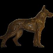 Vintage Hubley Cast Iron German Shepherd Dog Doorstop, Extra Rare Large Front Facing Orientation Circa 1920's to 1930's