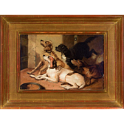 "Antique Original Oil Painting of Hunting Dogs in Gilded Frame, Signed ""EL"""