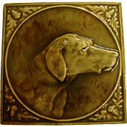 1880's Hamilton Tile Co Fireplace Tile Right Facing Dog with Acorns and Oak Leaves