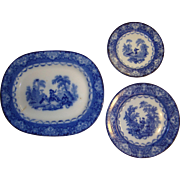 Antique 1890's Doulton Watteau Flow Blue Matched Set with Platter, Luncheon Plate and Dessert Plate