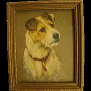 Vintage Arthur Wardle Fox Terrier Dog Half Tone Print, Framed Under Glass