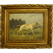 1800's French Original Oil Painting of a Foxhound Hunting Dog in Carved Gesso Frame