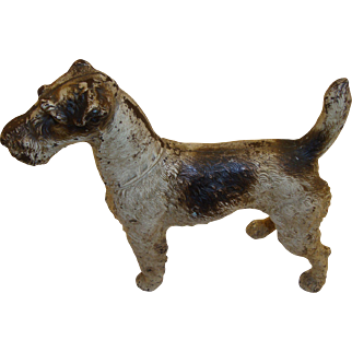 Vintage Hubley Cast Iron Fox Terrier Dog Doorstop, Extra Rare Front Facing Large Sized Version, Circa 1920's - 1930's