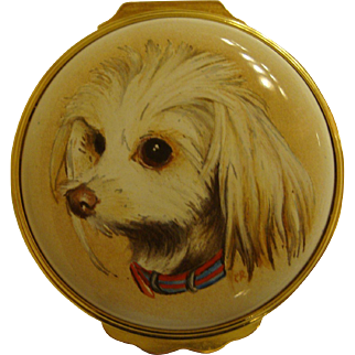 Custom Halcyon Days Enamel Box Featuring a Beloved Dog