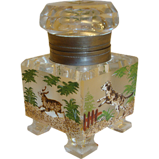 Wonderful Victorian Crystal Inkwell Hand Painted With Dog And Rabbit