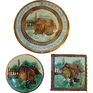 Lovely Antique Matched Majolica Set with Dog, Doghouse, Crow, Footed Cake Stand, Plate, Trivet from the 1880's