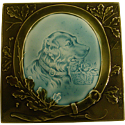 Lovely Majolica Tile Featuring a Dog with a Basket of Flowers, Late 1800's