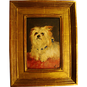Antique Original Oil Painting of Maltese or Yorkshire Terrier Dog, After Maud Earl, Dated 1899, Signed, in Gilded Frame