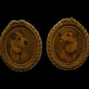 Matched Set of Vintage Fox Terrier Halftone Prints Framed in Oval Syroco Wood Frames