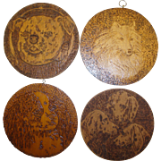 Antique Pyrography Set of Four Wall Plaques / Trivets With Dogs, English Bulldog, Collie, Cavalier King Charles, Foxhound