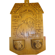 Antique Pyrography Match Holder Plaque with Dog, Flemish Art #899