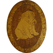 Vintage Pyrography Wood Plaque of Puppy Dog With Oak Leaves and Acorns