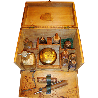 1905 Antique Flemish Art Pyrography Drop Front Box Kit with Dog Motif, Includes Tools, Bottles, Tin