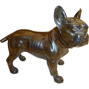 Vintage Bronzed Spelter French Bulldog Figural Dog Paperweight