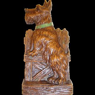 Vintage 1920's Scottish Terrier Syroco Wood Scottie Dog Pencil Holder in Excellent Condition