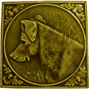 Hamilton Tile Co Fireplace Dog Tile, Facing Left, 1880's, with Acorns and Oak Leaves