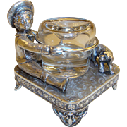 Victorian James W. Tufts Quadruple Silver Plated Inkwell with Boy and Dog #3067